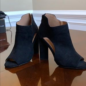 Black suede size US 5.5 open toe heels!